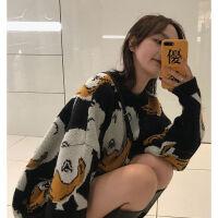 冬季韩版慵懒风宽松减龄少女撞色卡通可爱鸭子网红套头毛衣针织衫 图片色