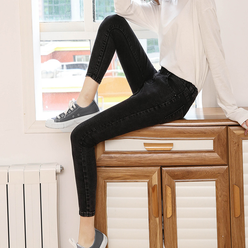 九分牛仔裤女2018春夏薄款韩版显瘦高腰弹力紧身八分铅笔小脚裤子 黑灰 九分裤 发货周期:一般在付款后2-90天左右发货,具体发货时间请以与客服协商的时间为准