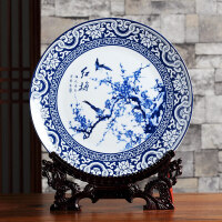 青花瓷装饰盘子陶瓷器摆件景德镇工艺品创意家居装饰博古架配花瓶