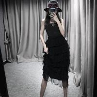 2018夏季新款网纱裙半身裙长裙裙百褶中长款时尚仙女裙子chic 均码