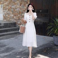 连衣裙女夏季2019新款初恋裙一字肩韩版中长款少女小清新复古裙子 白色