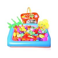 小猫磁性磁铁捞鱼戏水宝宝大号鱼池儿童钓鱼玩具池套装