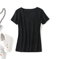 T恤女短袖2018新款韩版显瘦弹力小心机百搭棉chic上衣欧货半袖 均码