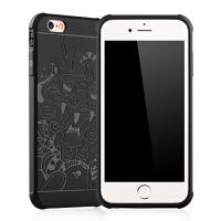 iphone6s手机壳磨砂 苹果8plus创意7P套子简约5S个性全包防摔黑色
