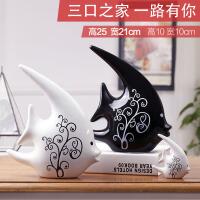 家居饰品客厅装饰摆件创意礼物陶瓷现代黑白情侣对吻鱼