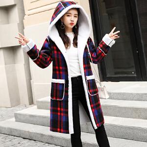 韩版加厚毛呢外套2018秋冬新款加绒毛呢格子羊羔毛外套女