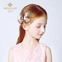 儿童头饰公主发饰韩式女孩礼服头饰发卡粉色发夹花童