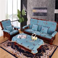 沙发加厚座垫 高密度海绵椅子垫 客厅中式组合沙发坐垫连靠 全套【单人垫 4个+茶几布 1张+抱枕 1个】在送