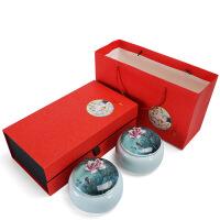 茶叶罐陶瓷茶叶包装礼盒空新款通用半斤绿茶红中号密封罐双罐定制