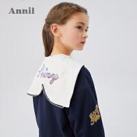 【2件5折:219.5】安奈儿童装女童外套人鱼摆尾领2020春季新款中大童单排扣休闲外套