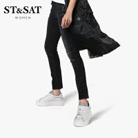 【3折再减80】ST&SAT星期六2019春秋新款圆头深口中跟小白鞋单鞋女SS93112217
