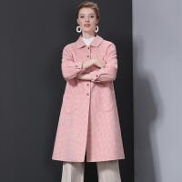 双面羊绒大衣女中长款新款2019流行格子毛呢外套风 XS 85-100斤(预售)