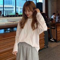半高领打底衫女秋冬装2019韩版宽松显白衣服学生纯色长袖T恤