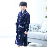 儿童浴袍法兰绒男孩宝宝秋冬款中长款睡衣小孩冬季珊瑚绒睡袍