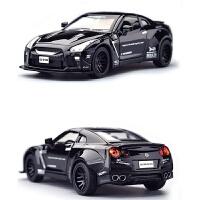 日产GTR跑回力汽车模型合金车模儿童跑车小汽车声光玩具车 战神GTR超跑 -黑色