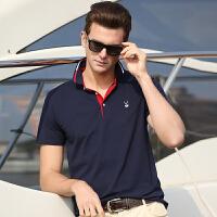 夏季中年男土纯棉短袖t恤全棉纯色t刺绣宽松加大码翻领针织polo衫