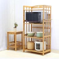 厨房用品竹制实木微波炉置物架子收纳层架储物调味架