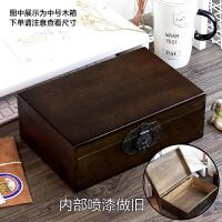 带锁的木质小盒子实木带锁小木箱复古盒子大储物箱收纳盒木箱子木质木盒大密码Z