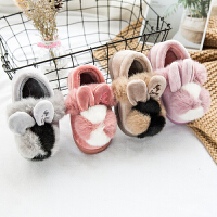 宝宝棉拖鞋女1-3岁男可爱卡通包跟室内保暖防滑儿童毛毛球棉鞋冬