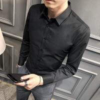 衬衫男学生白衬衫男长袖韩版修身潮流纯色职业工装商务休闲百搭男士衬衣免烫
