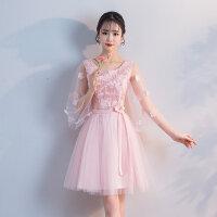 2018新款粉色伴娘晚礼服短款夏季婚礼主持表演姐妹裙中长款韩版女
