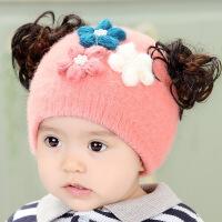 婴儿帽子秋冬保暖韩版0-3-6个月公主帽冬季套头宝宝帽女