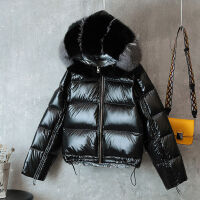 冬季羽绒服女短款韩版宽松加绒加厚亮面外套 黑色