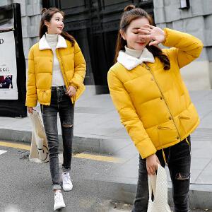 RANJU然聚2018秋季女装新品新款棉衣女短款韩版学生面包服冬季外套宽松棉服