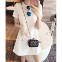 香港潮牌女装夏新款韩版显瘦气质简约短袖连衣裙圆领纯色直筒短裙