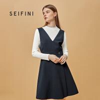 商场同款诗凡黎冬季新款韩版中长款背带裙女318A198421