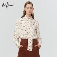 伊芙丽冬装链条装饰气质雪纺衫女1AA120261