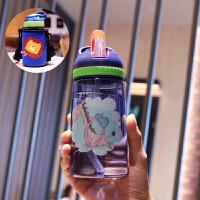 创意水杯 创意便携儿童水杯小学生可爱吸管杯女卡通耐热防摔塑料杯密封杯子 深蓝+蓝色杯套 500ml左右吸管杯