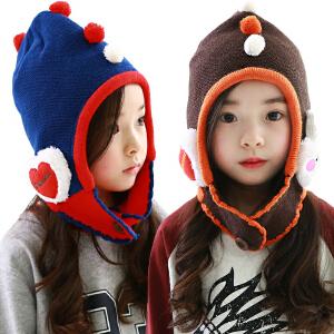 kk树新品宝宝帽子秋冬儿童帽可爱绒球护耳帽保暖加绒女童帽