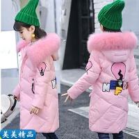 女学生长款棉袄韩版女孩冬装时尚棉衣中大童加棉加绒加厚外套