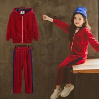 女童运动套装2018新款春秋装中大童时髦洋气儿童秋季丝绒两件套潮