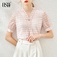 【超品叠券预估价:133】OSA粉色v领格子雪纺衫女2020年夏季新款高档洋气时尚小衫短袖上衣