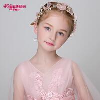 儿童发饰头花头饰花环发箍头箍女孩表演演出手工发夹皇冠粉色