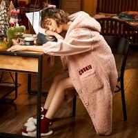 黛梦思羊羔绒睡袍女秋冬季加厚长款珊瑚绒睡衣连帽学生浴袍家居服
