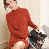 新半身裙2018秋冬女士新款JA-18029加厚长款半高菱形提花精品山羊绒衫 u00