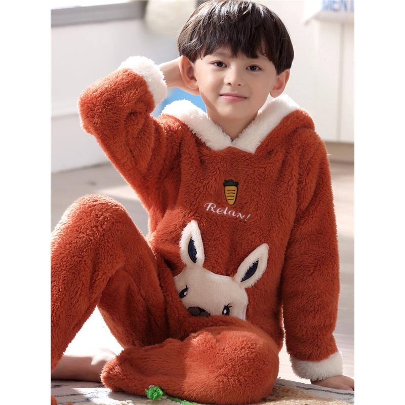儿童珊瑚绒睡衣秋冬季男童宝宝家居服中大童可爱小孩男孩套装