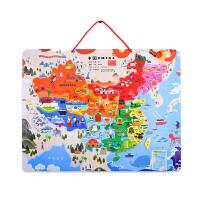 美乐儿童拼图地图木质拼板磁力早教益智玩具3-4-6岁中国地图拼图