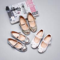 宝宝单鞋金色儿童软底银色舞蹈鞋白色公主鞋女孩