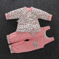 新生婴儿手工棉衣套装花棉裤女宝宝棉袄棉花加厚冬季童装