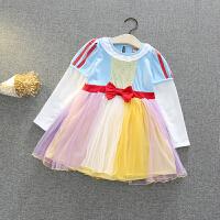 女童宝宝苏菲亚冰雪奇缘爱莎安娜美人鱼公主裙儿童连衣裙圣诞 L891白拼纱裙 长袖