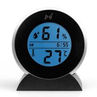 夜光温度湿度计带时钟 家用夜光电子室内温湿度计带日历时钟台式温湿度表精准小巧易携带