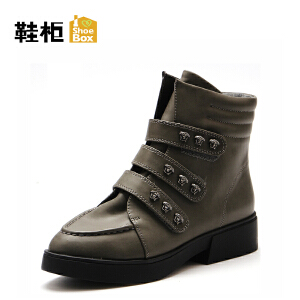 Daphne/达芙妮旗下鞋柜 秋冬女靴欧美短筒平跟切尔西靴女