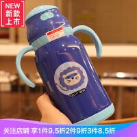 宝宝水杯外出携带不锈钢保温杯吸管杯便携杯子儿童学生宝宝随手杯 蓝色450ML/一杯两用 406-1