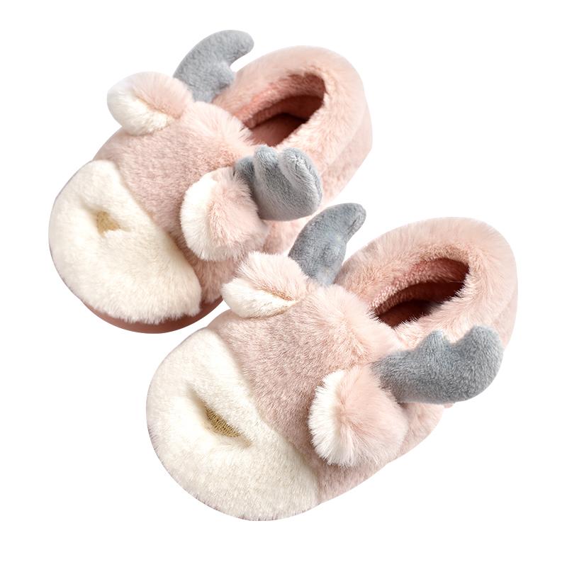 儿童棉拖鞋女童可爱公主秋冬季fang滑室内毛毛保暖宝宝鞋子男1-3岁