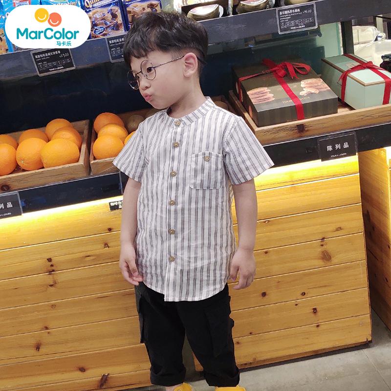 马卡乐童装小童衬衫男童2019夏新品儿童趣味立领条纹绅士衬衫男 经典条纹 挺括有型