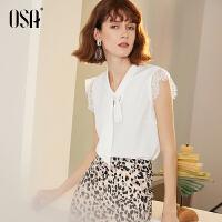 【限时秒杀价:159/叠券价:111.3】OSA欧莎蕾丝拼接雪纺衫女夏白色2019新款洋气薄款小衫女士上衣仙